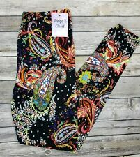 Extra PLUS Galaxy Colorful Paisley Leggings Abstract Bold Bright Curvy 16-24