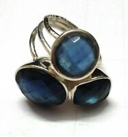 Blue Sapphire Natural Gemstone 925 Sterling Silver Ring Size 7