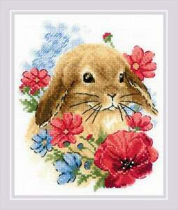 Counted Cross Stitch Kit RIOLIS 1986 - Bunny in Flowers