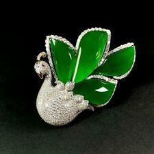 【KOOJADE】Icy Emerald Green Jadeite Jade Brooch/Pendant 《Grade A》