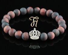 Oeil de Tigre Rouge Mat 8mm Bracelet Perles Coloris Argent Couronne
