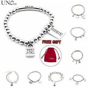 New Uno de 50 Jewelry Luck Silver Chain Bead Padlock Logo Steel Bracelet FreeBag