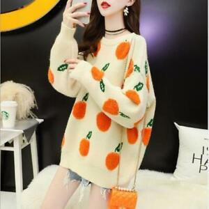 Women's 2020 Fashion Fruit Jacquard Pullover Loose Knitted Sweater Cardigan SKGB