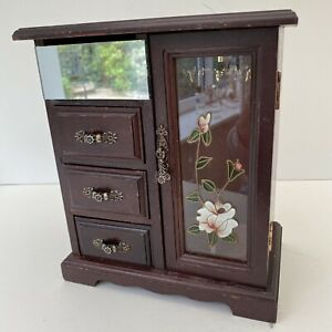 Vintage Wooden Wardrobe Style Kitsch Shabby Chic Jewellery Box.