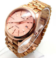 299P New Luxury Style Men's Dress Wrist Watch Rose Gold Strap Dial Date Quartz