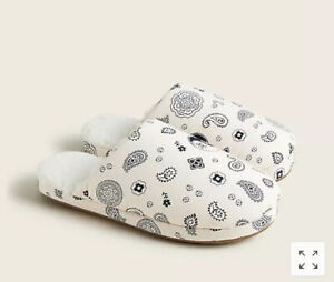 NEW J.Crew Sherpa Lined Fur Slide Slippers Pale Pink Paisley Fabric Print Size 8