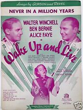 "1937 ""WAKE UP AND LIVE"" MOVIE SHEET MUSIC ""NEVER IN A MILLION YEARS"" ALICE FAYE"