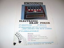 Fun & Amusement Ent. Electronic Draw Poker Arcade Original sales flyer brochure