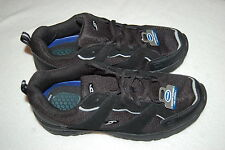 Mens BLACK ATHLETIC SHOES Leather & Synth DR SCHOLL'S ELEVATE Gel Cushioned 8W