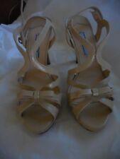 PRADA Strappy Platform Heels, Patent Leather, Adjustable Strap, Size 6, 36