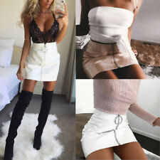 Women High Waist PU Leather Mini Skirt Skirt Short Sexy White Black S-XL