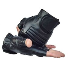 Men Black PU Leather Weight Lifting Gym Gloves Workout Wrist Wrap Sport Exercise