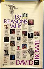 """David Bowie 137 reasons why 27"""" X 17.5"""" Rca 1980 Promo Poster Rare"""