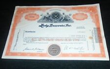 Rare Lucky Breweries, Lucky Lager Beer Vintage Stock Certificate