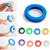 8X Bright Colors Silicone Hollow Key Cap Covers Topper Keyring With Bly Braille