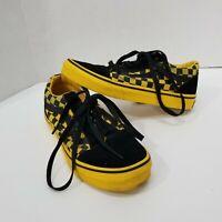 Vans Kids 3.5 Old Skool Skate Shoe Black Yellow Checkerboard Boys Girls Sneakers