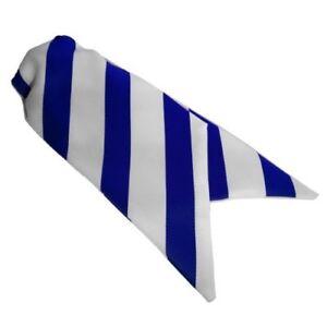 Ladies Clip On Striped Cravats - Royal Blue & White