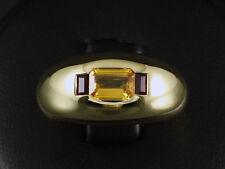Einmaliger gelber Saphir Rubin Band Ring mit kleiner Ringweite 50 750/- Gelbgold
