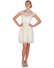 3dedda5e88d Belle by Badgley Mischka Scallop Lace Cocktail party Dress in Ivory 10