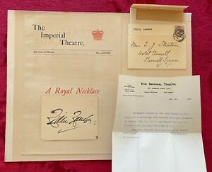 LILLIE LANGTRY AUTOGRAPH CARD 1901 & PROGRAM FOR A ROYAL NECKLACE -IMPERIAL THR.