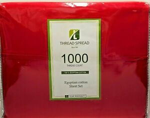 True Luxury 1000-Thread-Count 100% Egyptian Cotton Bed Sheets QUEEN RED