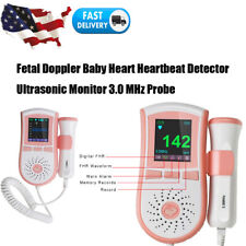 Portable Fetal Doppler Heartbeat Ultrasound Monitor Digital Display 3MHZ Probe