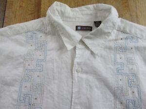 Centro Bowling Camp Panel Stitch Linen Blend SS Buttonfront Shirt Size XXL