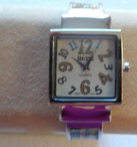 Watch Womans Cuff-square face-plaid band gold black blue matching zippered  bag