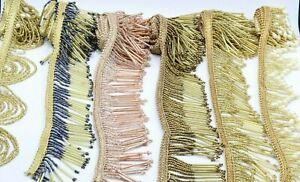 1 X Yard Gold Bead Fringe Bridal Saree Tassel Sewon Trim Curtain Edge Lace 2 inc