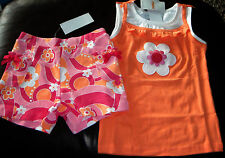 Gymboree Rainbow Cabana orange flower ruffle top & floral knit shorts NWT 6