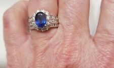 LeVian Ring 2.15 CTW  1.15 CT Sapphire with 1.00 CTW Diamonds 18kt WG Sz 4.5