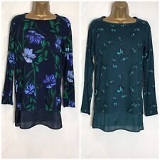 M&S Floral Stretch Jersey Layered Look Tunic Top 2 Colours Size 8 -24 (ms-287h)