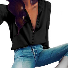 Plus Size Womens Button Down Collar Tops Office Long Sleeve Loose Blouse T Shirt