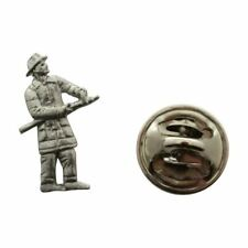 Fireman Mini Pin ~ Antiqued Pewter ~ Miniature Lapel Pin