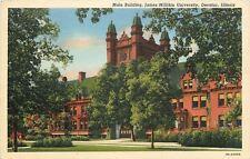 Decatur Illinois~James Milikin University~Main Building~1939 Linen Postcard