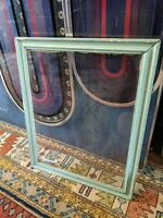 ANTIQUE PRIMITIVE TURQUOISE WOOD PICTURE FRAME VTG RETRO GLASS 16X20 23X19 OLD