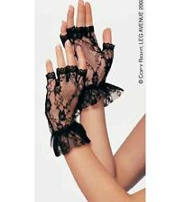 Fingerless Wrist Length Lace Gloves With Ruffle - By Leg Avenue G1205