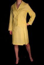 M~L VTG 60s 2pc LINED SECRETARY  DRESS SUIT YELLOW STRIPE PLEATED SKIRT BLAZER