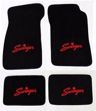New! Black Carpet Floor Mats 1967-1976 Dodge Dart Swinger Logo Red on All 4