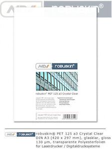 robuskin PET125 Polyesterfolie Crystal Clear 177g/m² 100Blatt glasklar A3 A4 SRA