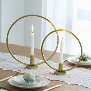Gold Iron Art candle holder  SET OF 2 Rings 23cm and 29cm great for table decor
