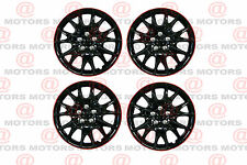 "Full Set Of 4 14"" Hub Caps Wheel Covers High Quality Chroming Black Red Lip New"