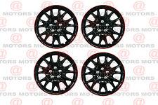 "Full Set Of 4 14"" Hub Caps Wheel Covers High Quality Chroming Black Red Lip New"