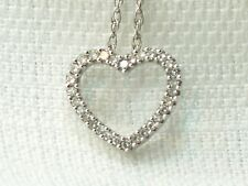 Estate 14K Yellow Gold Small Diamond Heart Pendant Chain Necklace Signed DDG