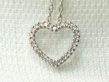 Estate 14K White Gold Small Diamond Heart Pendant Chain Necklace Signed DDG X