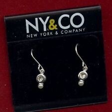 "PAIR ""NY & CO"" SILVER RHINESTONE PEARL DANGLE EARRING S745"