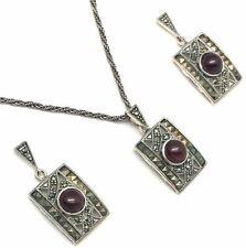 Parure con diamanti e gemme rosse in argento sterling