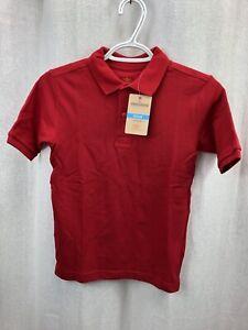 NWT Docker's Boy's School Uniform Pique Short Sleeve Polo Shirt Red Size M-10/12
