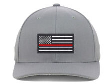 USA Flag Red Line, Local Fire Department Support Embroidered, Flexfit Hats