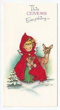 Vintage Greeting CardChristmas Angel Deer Red Glitter Artist Eve Rockwell L17